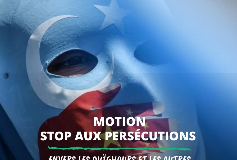 Motion visant à condamner les persécutions envers les Ouïghours et les autres minorités musulmanes en Chine